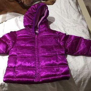 Healthtex purple puffed lined coat hood worn once